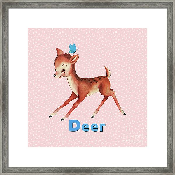 Playful Baby Deer Pattern Framed Print