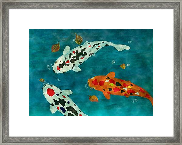 Playful Koi Fishes Original Acrylic Painting Framed Print
