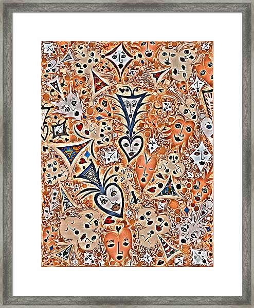 Playing Card Symbols With Faces In Rust Framed Print