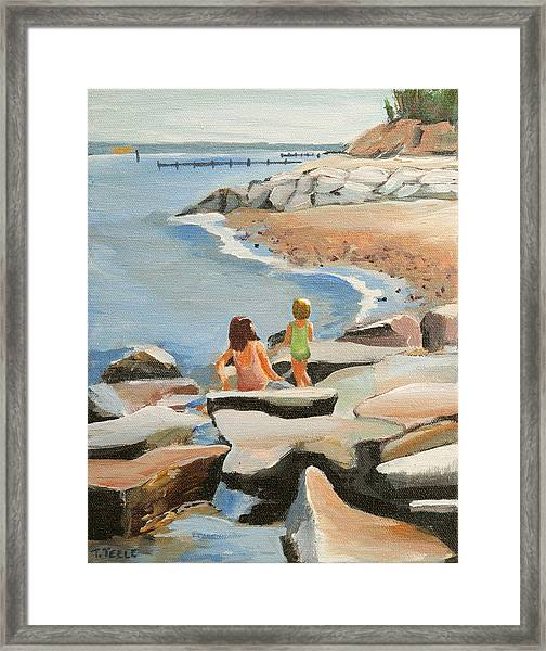 Playing On The Jetties Framed Print