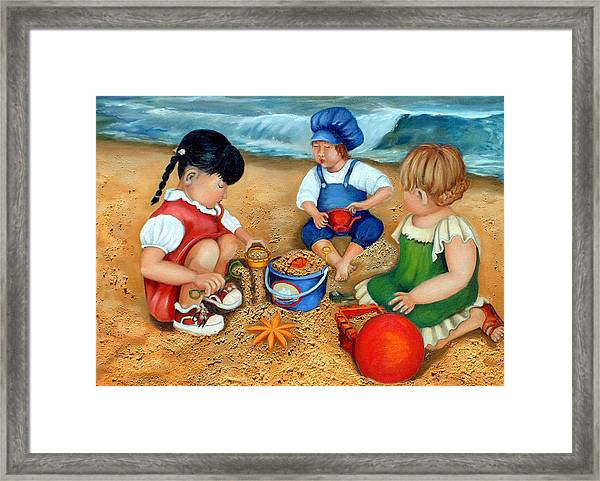 Playtime At The Beach Framed Print