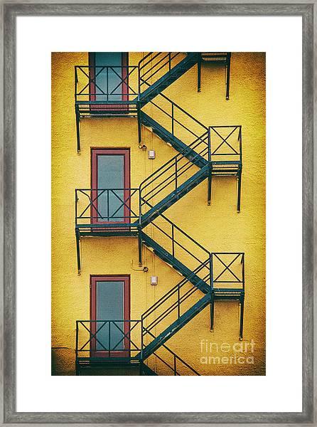 Plaza Fire Escape Framed Print