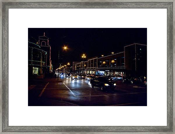 Plaza Lights Framed Print