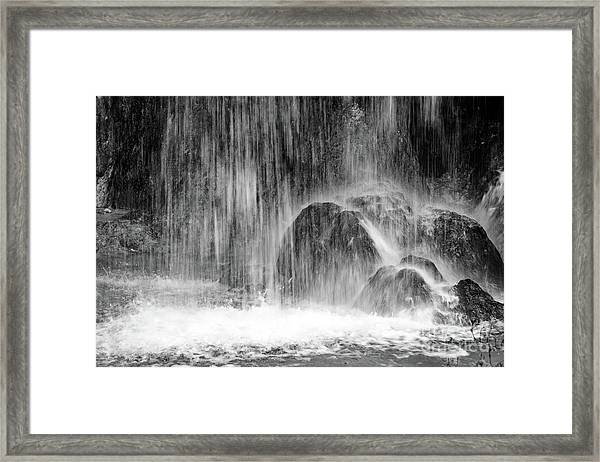 Plitvice Waterfall Black And White Closeup - Plitivice Lakes National Park, Croatia Framed Print