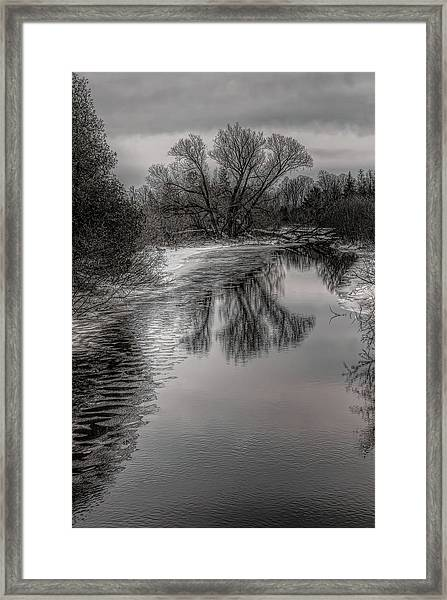 Plover River Black And White Winter Reflections Framed Print