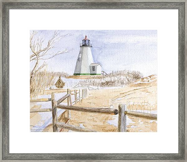 Framed Print featuring the painting Plymouth Light In Winter by Dominic White
