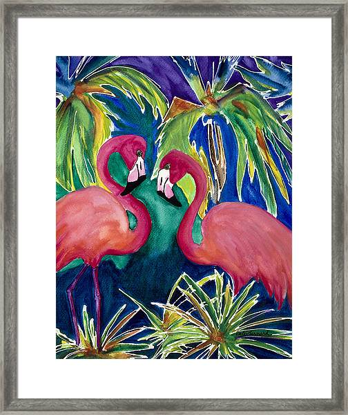 Poin And Settia Dine At The Palm Framed Print