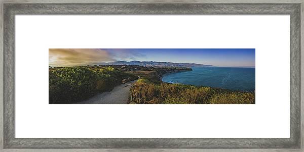 Point Dume Sunset Panorama Framed Print