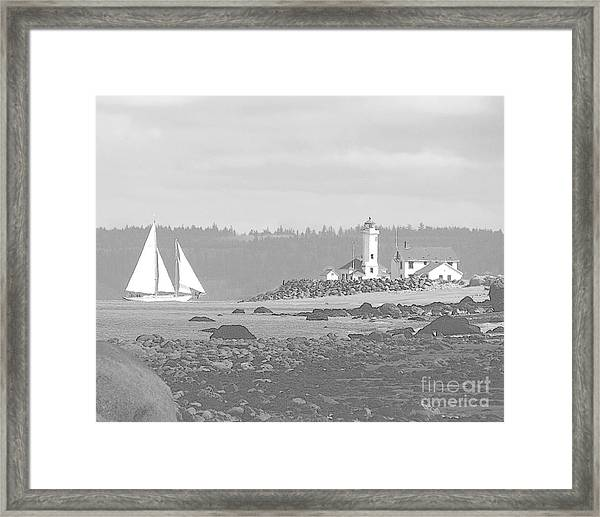 Point Wilson Lighthouse And Sailboat Framed Print