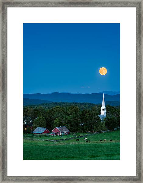 Pointing At The Moon Framed Print
