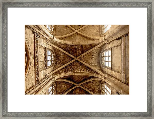 Framed Print featuring the photograph Poissy, France - Ceiling, Notre-dame De Poissy by Mark Forte