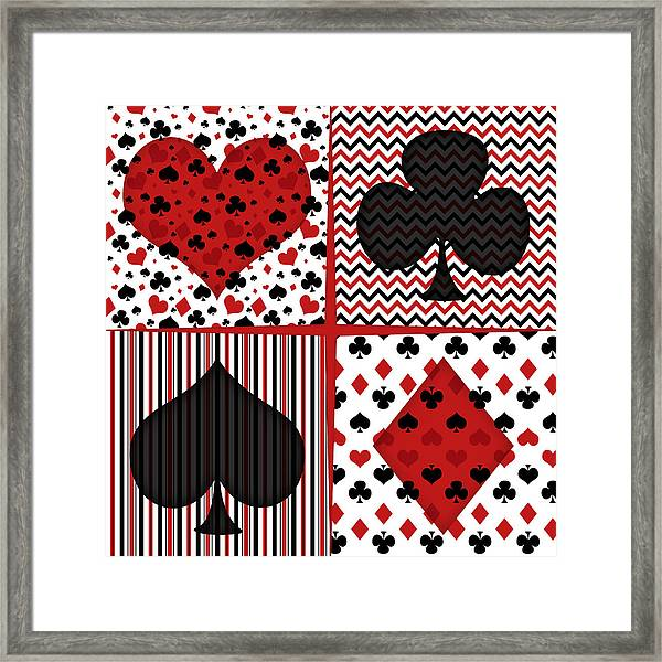 Poker In Four Framed Print