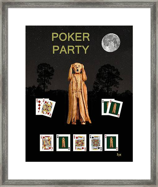 Framed Print featuring the mixed media Poker Scream Party Poker by Eric Kempson