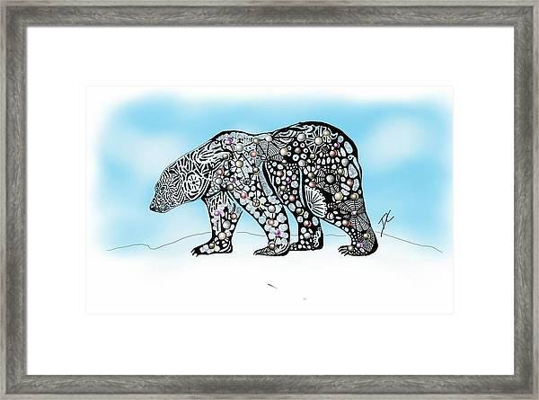 Polar Bear Doodle Framed Print