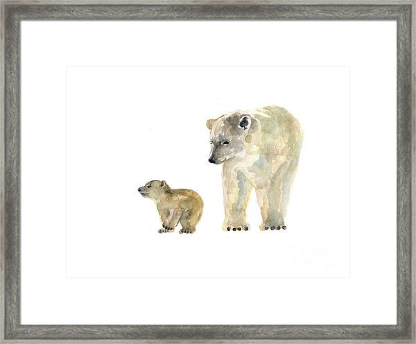 Polar Bears Watercolor Art Print Painting  Framed Print