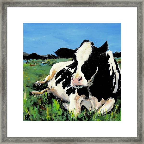 Polly The Cow Framed Print by Cari Humphry