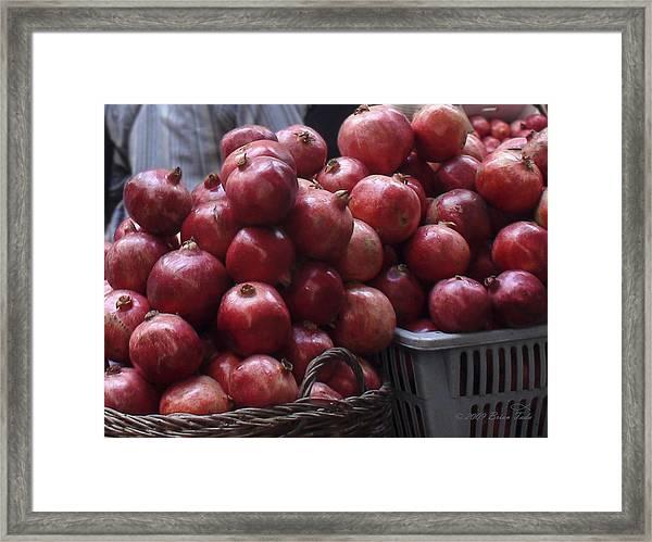 Pomegranates At Jerusalem's Old City Market Framed Print