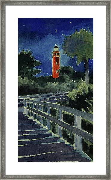 Ponce Inlet Lighthouse Before Dawn 7-5-17 Framed Print