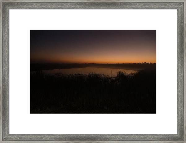Pond And Cattails At Sunrise Framed Print