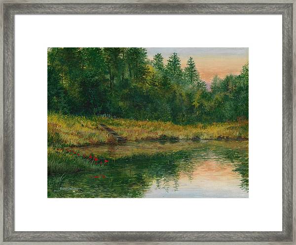 Pond With Spider Lilies Framed Print