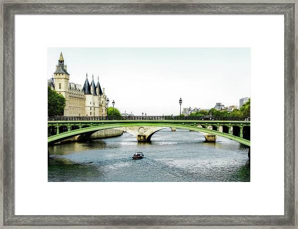 Pont Au Change Over The Seine River In Paris Framed Print