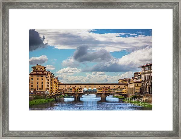 Ponte Vecchio Clouds Framed Print