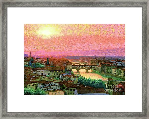 Ponte Vecchio Sunset Florence Framed Print