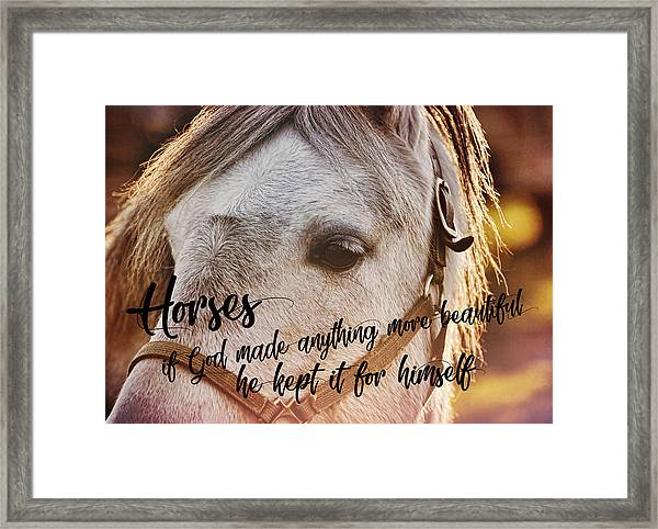 Pony At Sunset Quote Framed Print