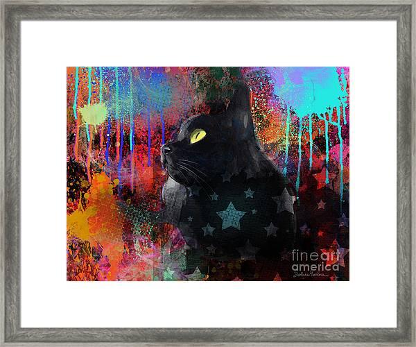 Pop Art Black Cat Painting Print Framed Print
