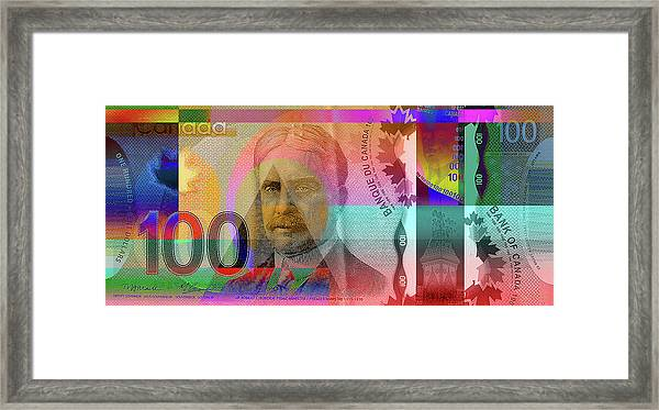 Pop-art Colorized New One Hundred Canadian Dollar Bill Framed Print