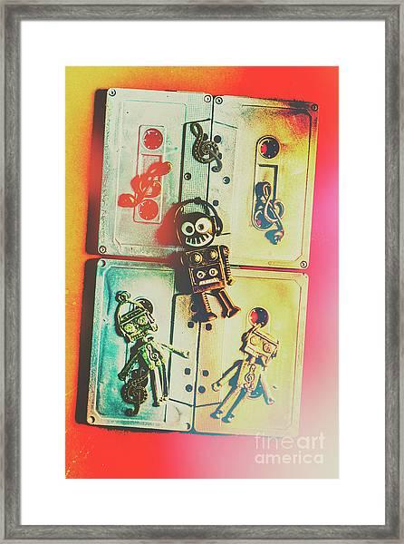Pop Art Music Robot Framed Print