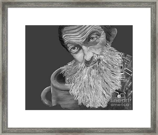 Popcorn Sutton Black And White Transparent - T-shirts Framed Print