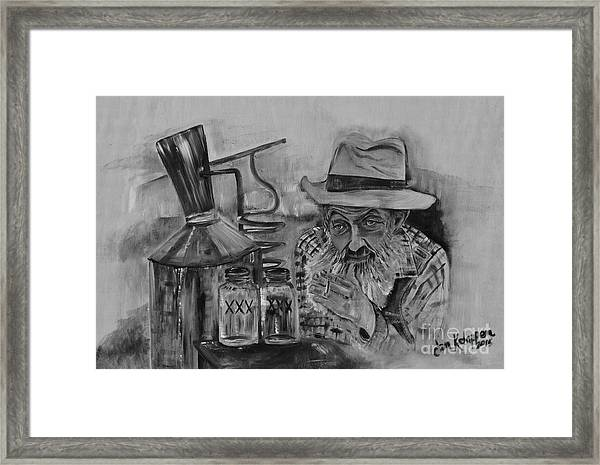 Popcorn Sutton - Black And White - Waiting On Shine Framed Print