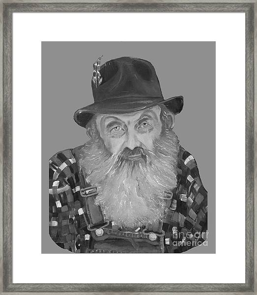 Popcorn Sutton Moonshiner Bust - T-shirt Transparent B And  W Framed Print