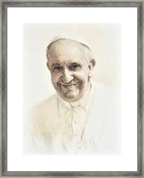 Pope Francis, Joyful Father Framed Print
