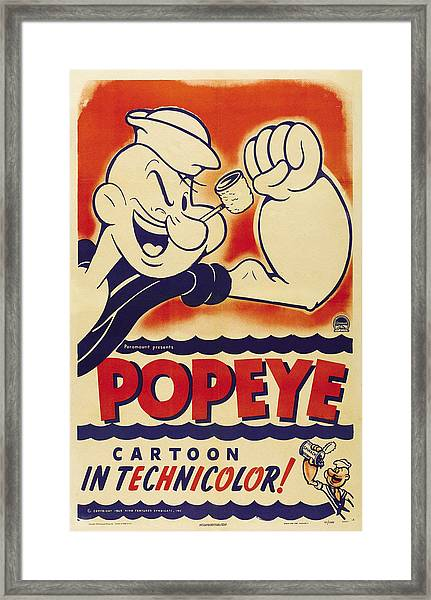 Popeye Technicolor Framed Print