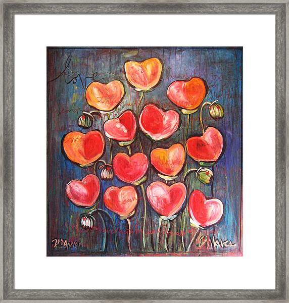 Framed Print featuring the painting Poppies Are Hearts Of Love We Can Give Away by Laurie Maves ART