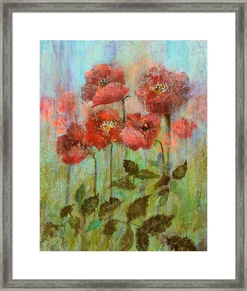 Poppies In Pastel Watercolour Framed Print