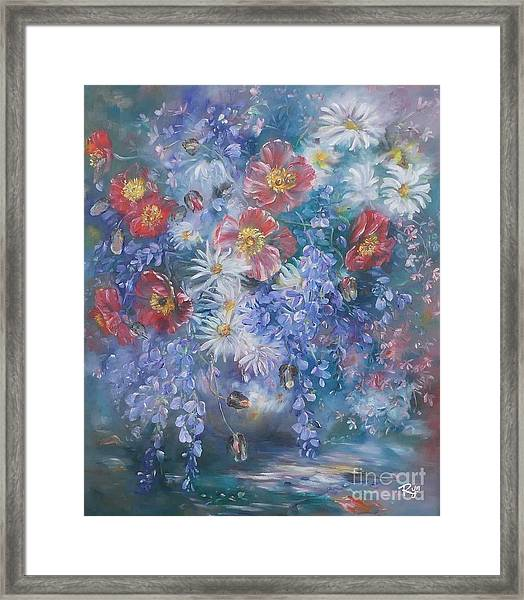 Poppies, Wisteria And Marguerites Framed Print