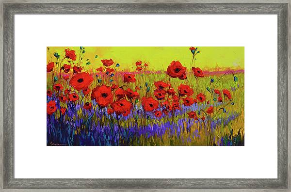Poppy Flower Field Oil Painting With Palette Knife Framed Print