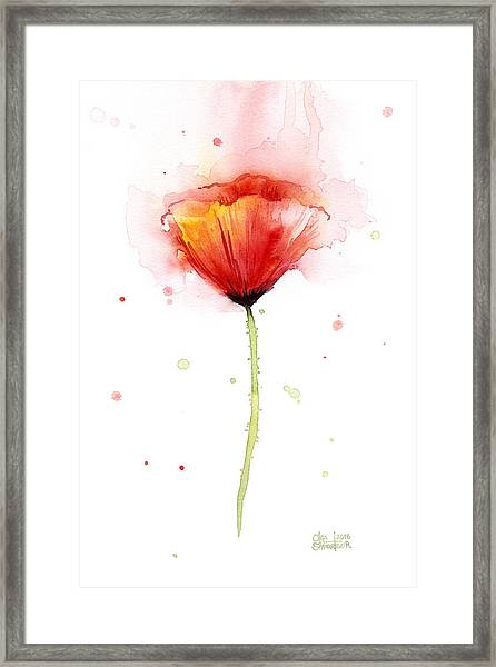 Poppy Watercolor Red Abstract Flower Framed Print