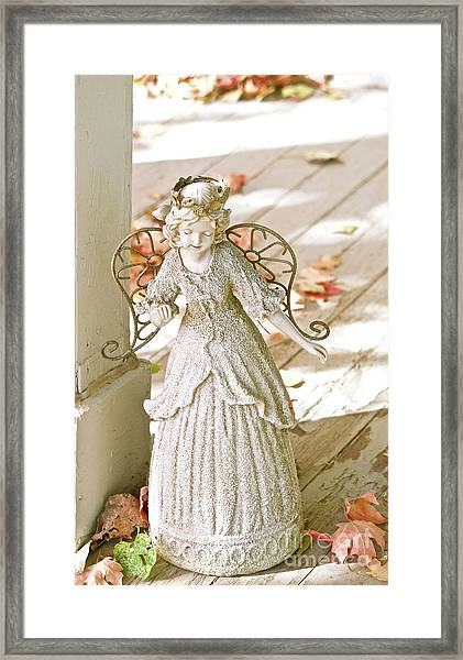 Porch Angel In The Fall Framed Print