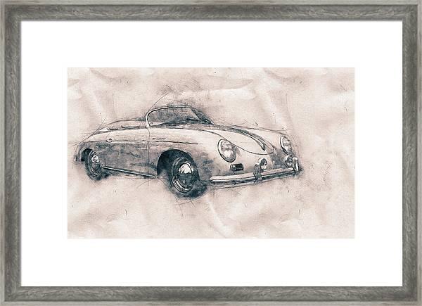 Porsche 356 - Luxury Sports Car - 1948 - Automotive Art - Car Posters Framed Print
