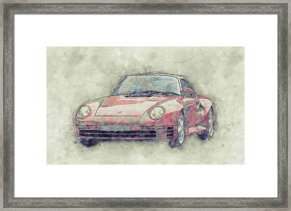 Porsche 959 - Sports Car 1 - Roadster - 1986 - Automotive Art - Car Posters Framed Print