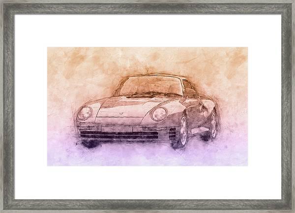 Porsche 959 - Sports Car 2 - Roadster - 1986 - Automotive Art - Car Posters Framed Print