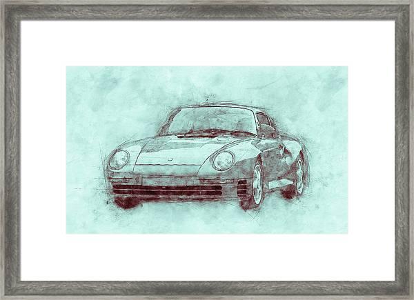 Porsche 959 - Sports Car 3 - Roadster - 1986 - Automotive Art - Car Posters Framed Print