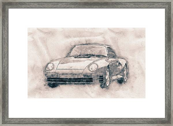 Porsche 959 - Sports Car - Roadster - 1986 - Automotive Art - Car Posters Framed Print