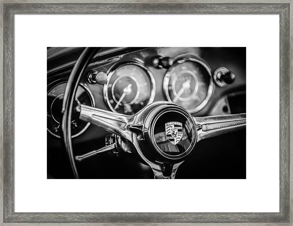 Porsche Super 90 Steering Wheel Emblem -1537bw Framed Print