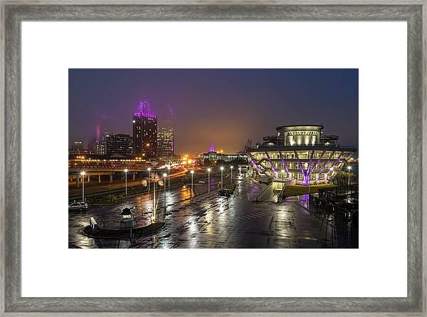 Port City Fog Framed Print