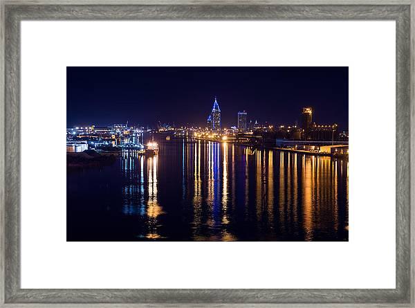 Port City In Blue Framed Print
